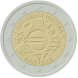 Commemorative Euro coin visual: Italy 2012, 10th Anniversary of Euro coins and banknotes
