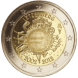 Commemorative Euro coin visual: Luxembourg 2012, 10th Anniversary of Euro coins and banknotes