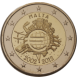 Commemorative Euro coin visual: Malta 2012, 10th Anniversary of Euro coins and banknotes