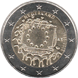Commemorative Euro coin visual: Netherlands 2015, 30th anniversary of the Flag of Europe