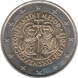 Commemorative Euro coin visual: Slovakia 2013, 1150 years from the Byzantine Advent of advent of the Mission of Constantine and Methodius to the Great Moravia