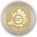 Commemorative Euro coin visual: Slovenia 2012, 10th Anniversary of Euro coins and banknotes
