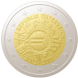 Commemorative Euro coin visual: Austria 2012, 10th Anniversary of Euro coins and banknotes
