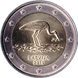 Commemorative Euro coin visual: Latvia 2015, 10th anniversary of the Black Storks protection program
