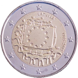 Commemorative Euro coin visual: Latvia 2015, 30th anniversary of the Flag of Europe