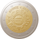Commemorative Euro coin visual: Cyprus 2012, 10th Anniversary of Euro coins and banknotes