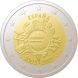 Commemorative Euro coin visual: Spain 2012, 10th Anniversary of Euro coins and banknotes