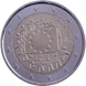 Commemorative Euro coin visual: Spain 2015, 30th anniversary of the Flag of Europe