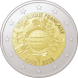 Commemorative Euro coin visual: France 2012, 10th Anniversary of Euro coins and banknotes