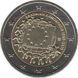 Commemorative Euro coin visual: Greece 2015, 30th anniversary of the Flag of Europe